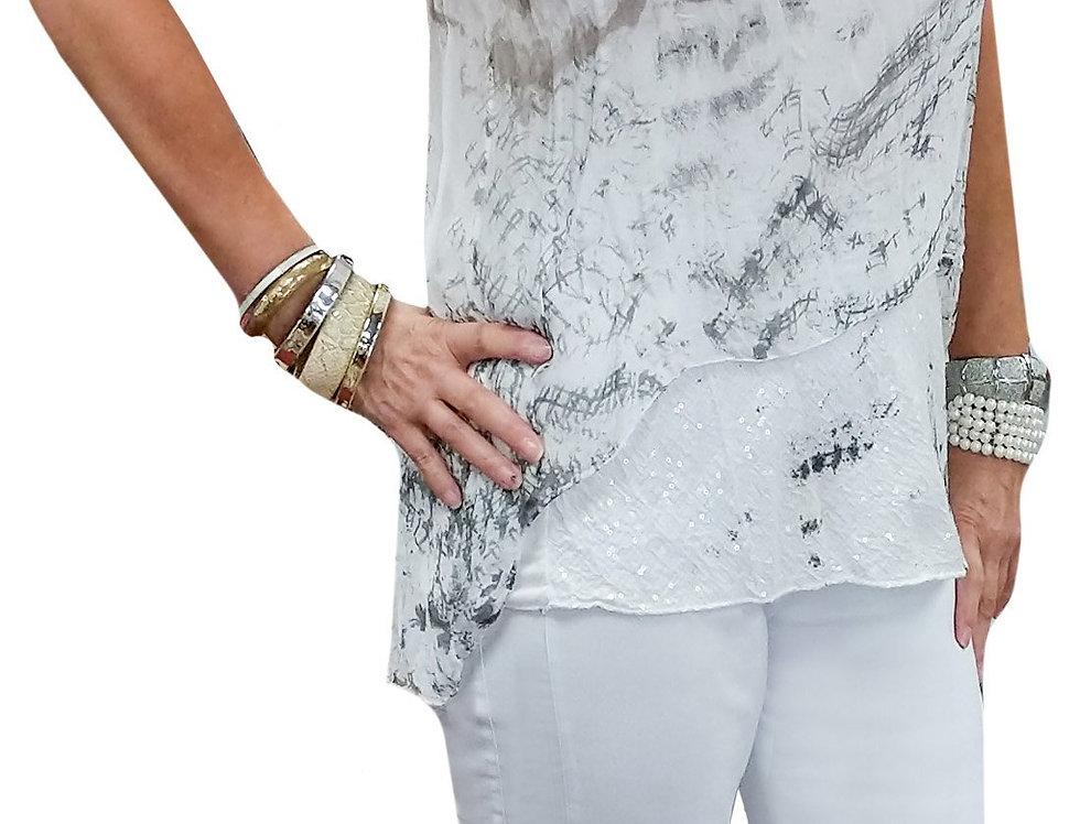 White Lasered Hem Stretch Techno Capri