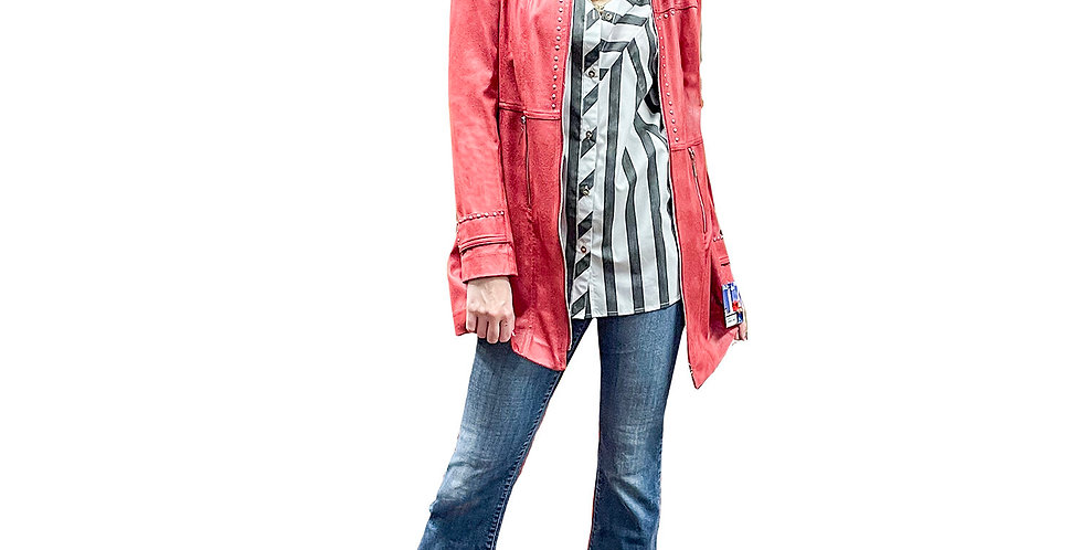 Tomato Stretch Vegan Leather Zip Front Crombie with Stud Detail