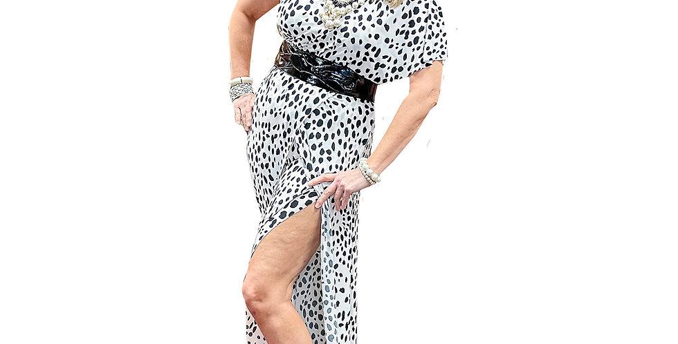 Black & White Panther Dot Stretch Jersey Asymmetric Self-Skirted Jumpsuit