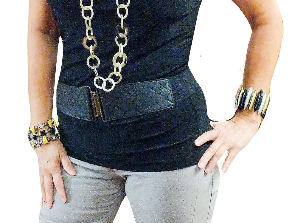 Black Stretch Matte Jersey Knit Cowl
