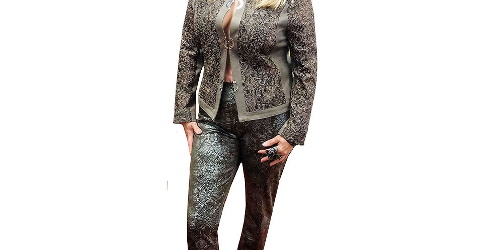 Stretch Italian Lace on Vegan Leather Collarless Jacket Taupe