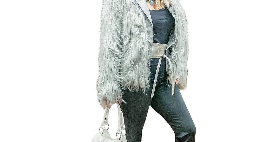 Silver Faux Fur Shag Jacket