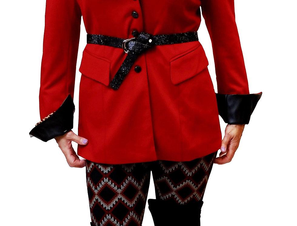 British Red Stretch Gabardine Pleather Trim Ridding Jacket