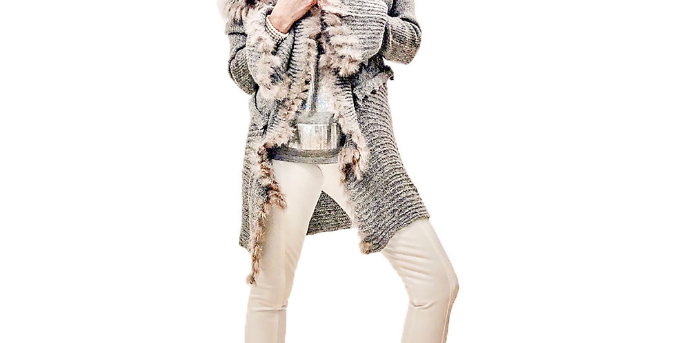 Grey Knitted Ribbed Ruffle Front Bell Sleeve Sweater Coat with Fur Trim
