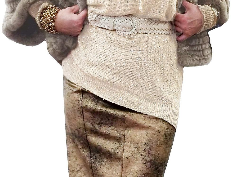 White Gold Metallic Stretch Knit Tunic