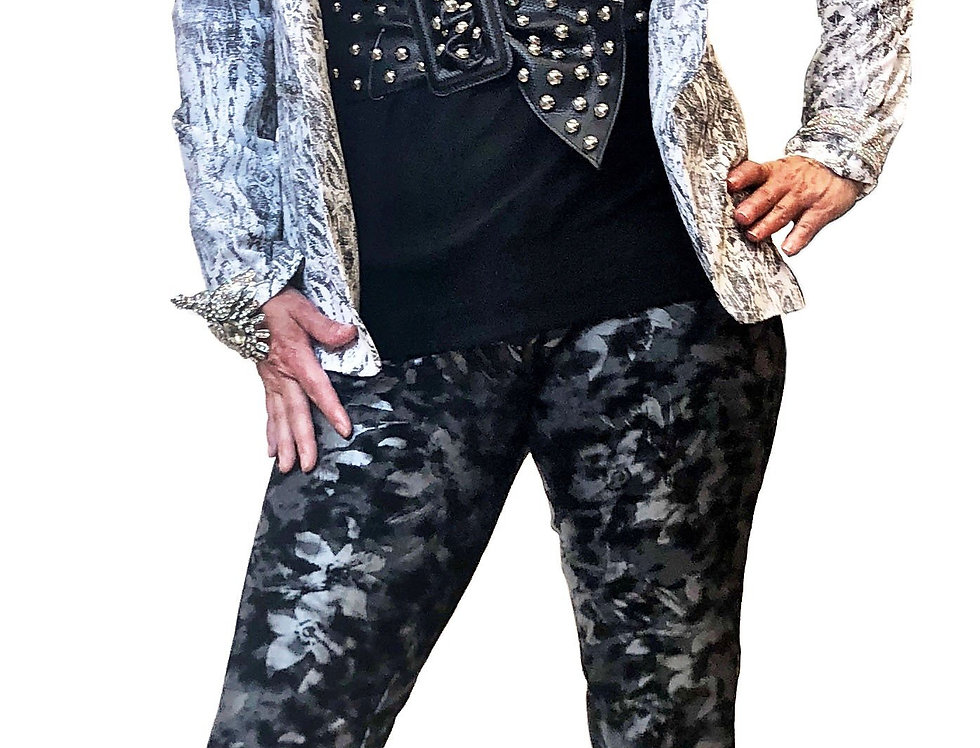 Black and Silver Muted Floral Stretch Miracle Pant