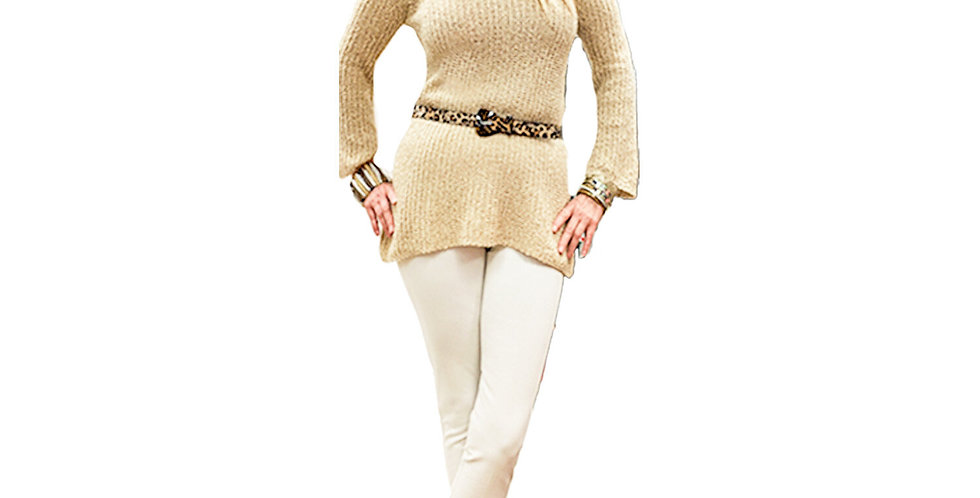 Cold Shoulder Wheat Ribbed Sweater Tunic
