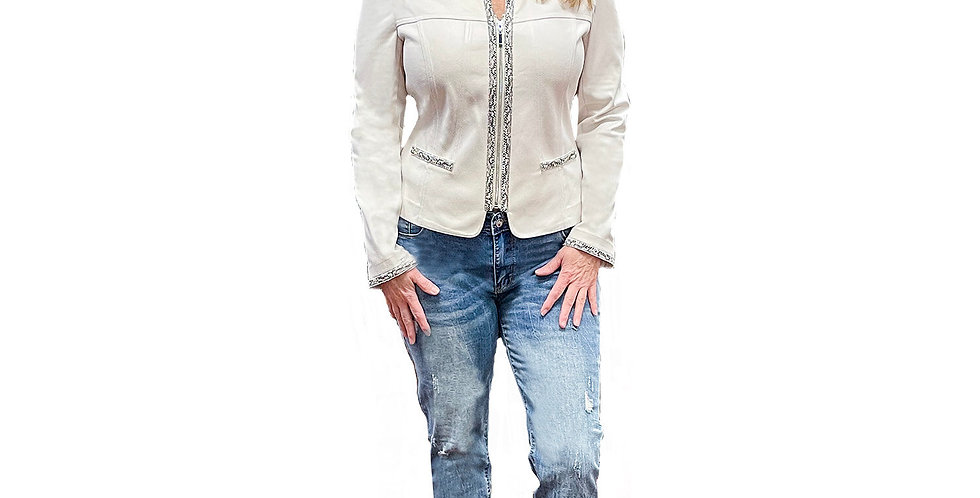 Coconut Stretch Vegan Fitted Zip-Front Jacket with Python Trim