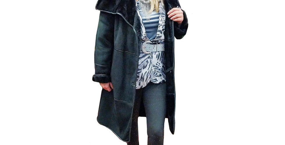 Italian Tucsonan Shearling Reversible Suede, Fur, and Leather Trimmed Coat