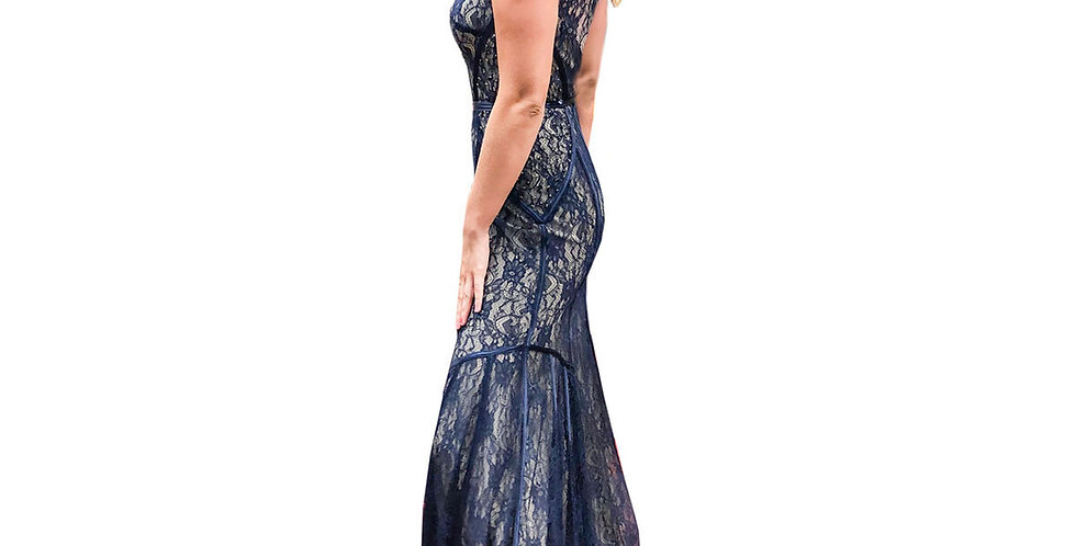 Navy Over Nude High Neck Low Back Gown