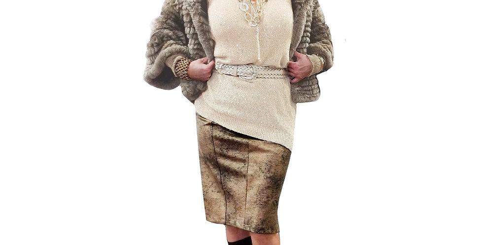 Taupe Chinchilla Rex 3/4 Sleeve Fur Jacket
