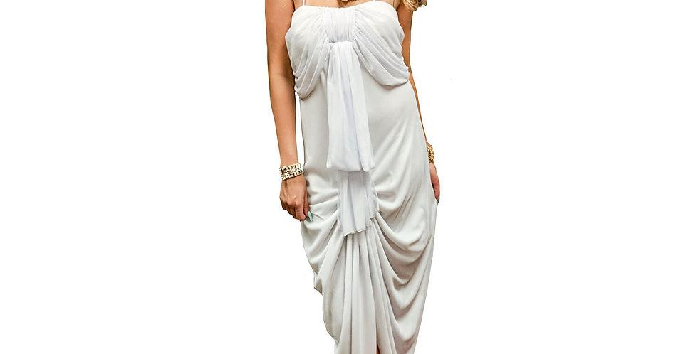 Ruched Draped Chiffon Tiered Dress