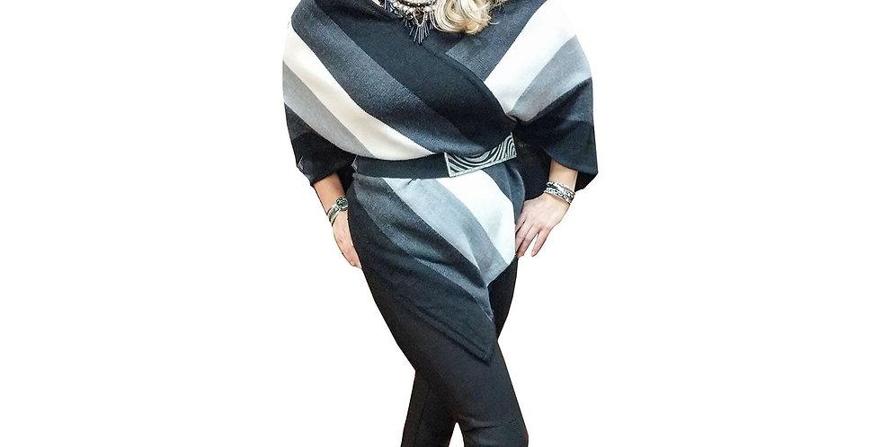 Multi Toned Angled Sweater Poncho
