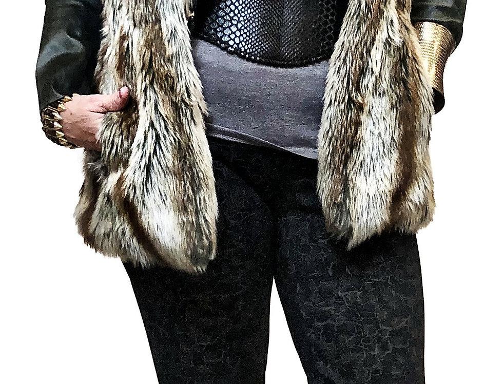 Faux Wolf Fitted Waist Fur Vest