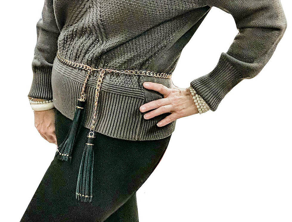 Taupe Cabled Knit Sweater with Tonal Pearls