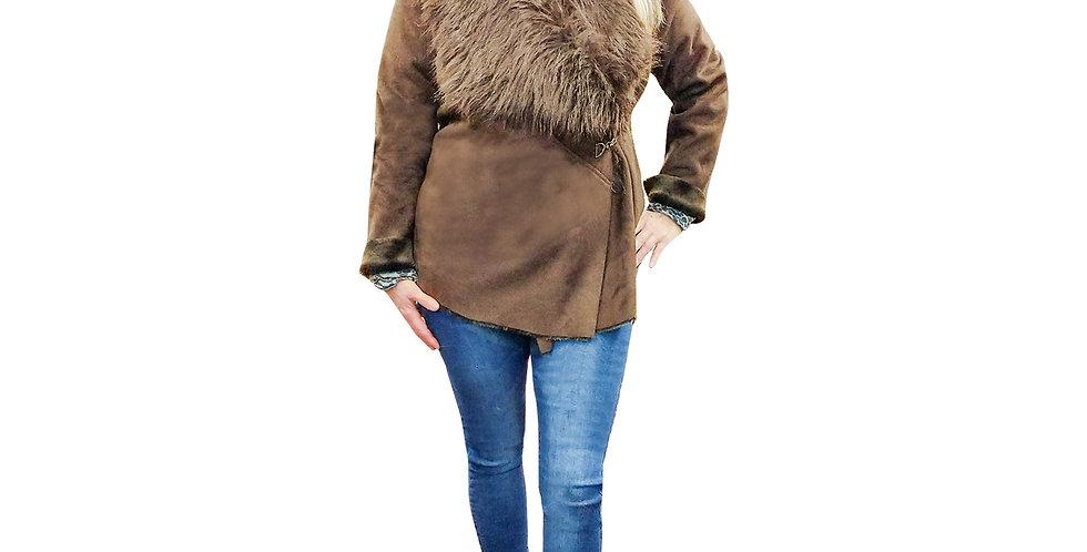 Faux Fur & Suede Side-Tab Jacket