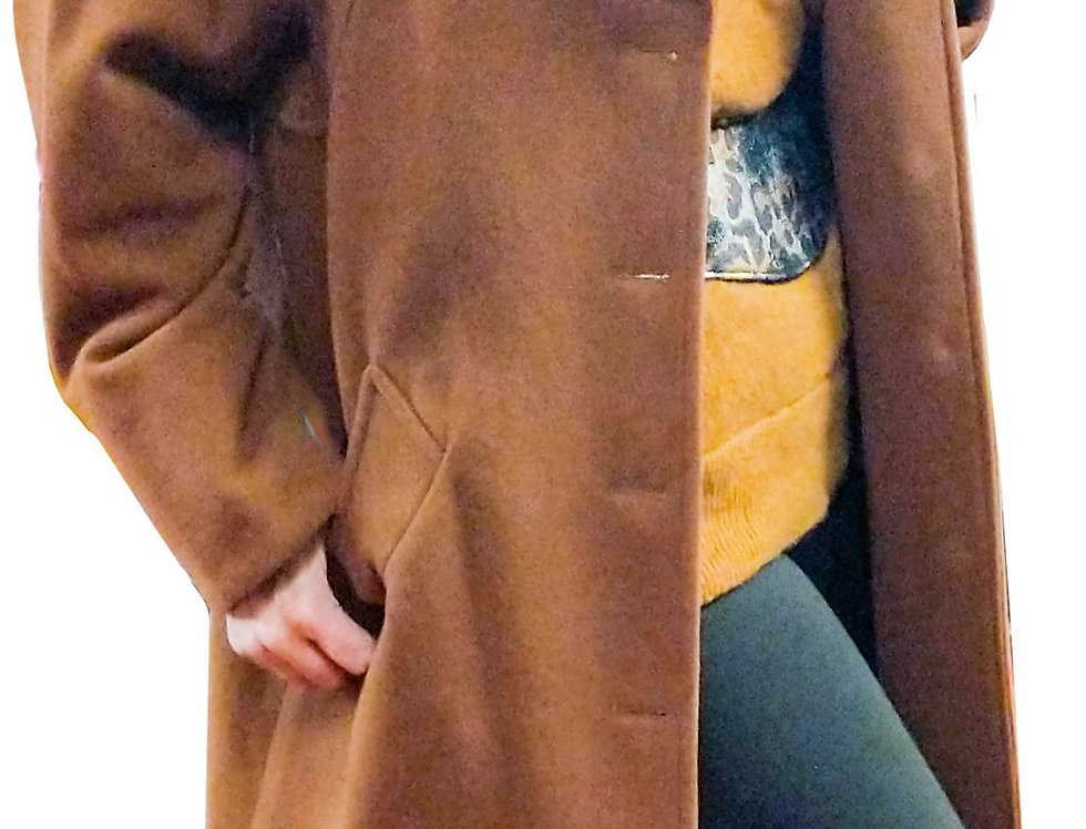 Vicuna-Touch Petal Collar Cuddle Coat