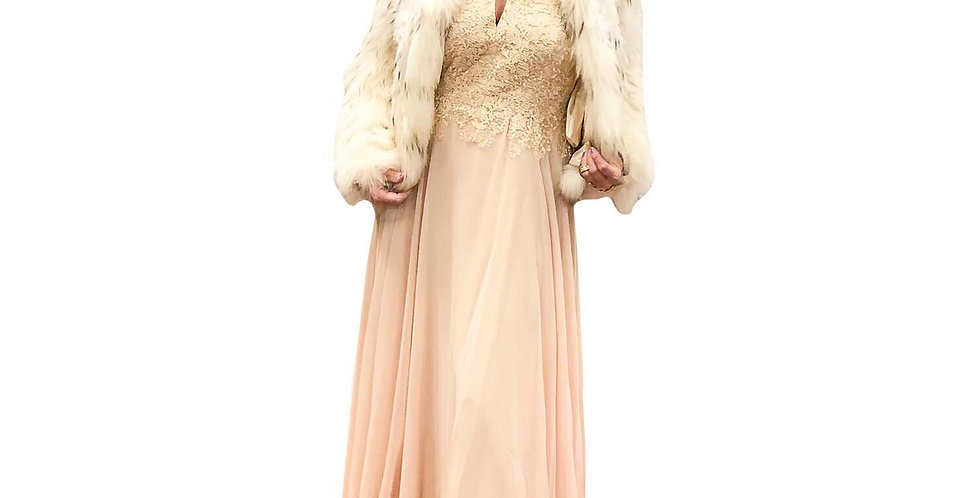 Champagne Lace Key-Hole Halter Gown