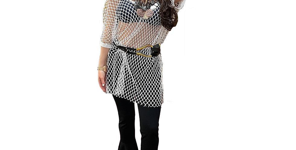 White Net Sheer Tunic