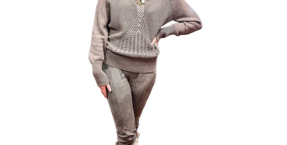 Italian Cotton Cable Hand-Knit Sweater with Tonal Pearl Details