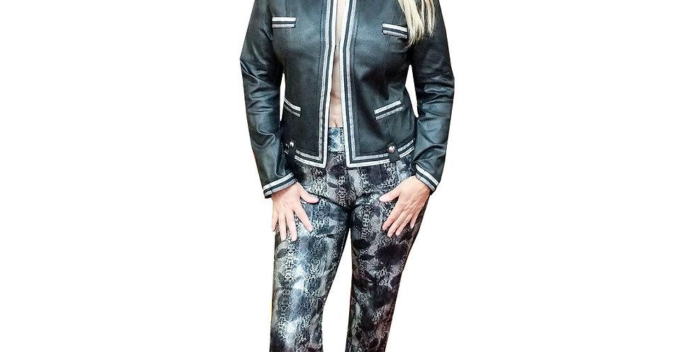 Textured Vegan Leather Chanel Inspired Jacket with Metallic Racing Stripe Detail