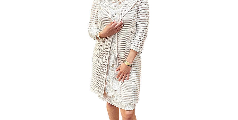 Lasered Stretch Knit-Over-Nude Crochet Crombie