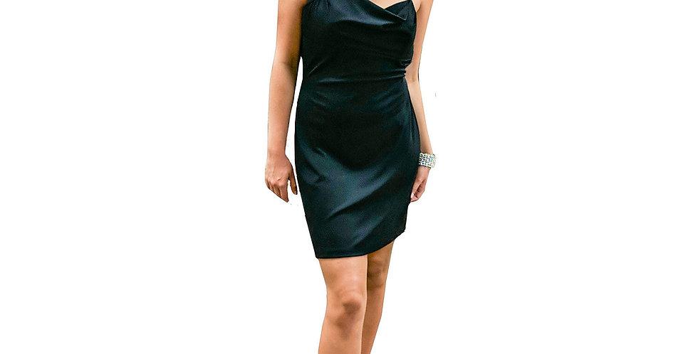 Black Shiny Satin Mini Dress