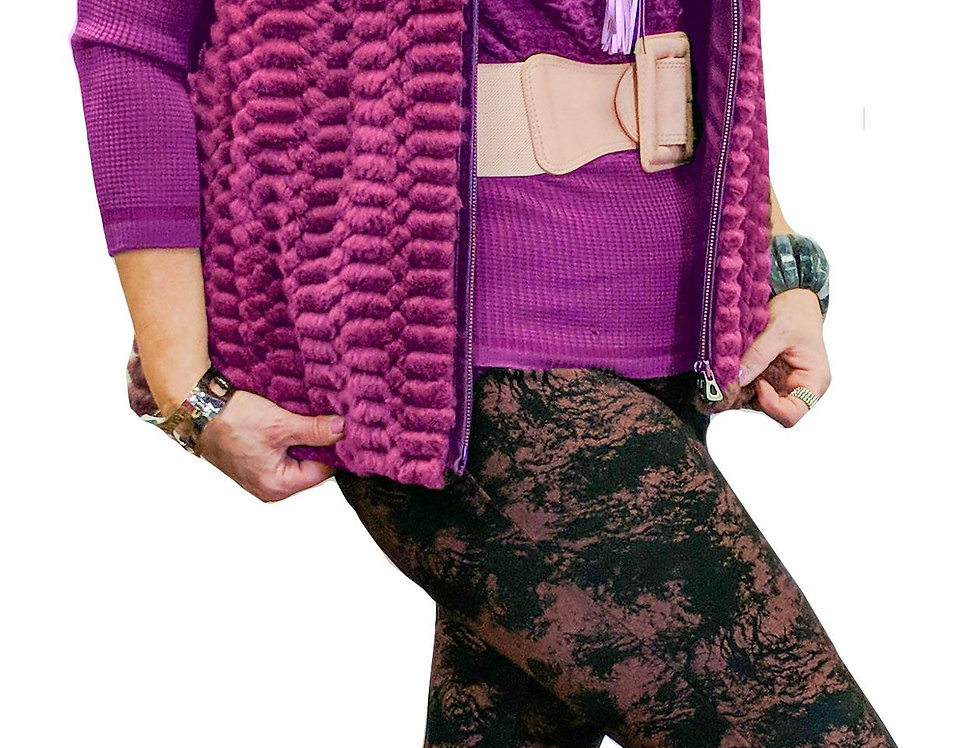 Lasered Chinchilla Rex Zip Front Fur Vest with Detachable Quilted Sleeves