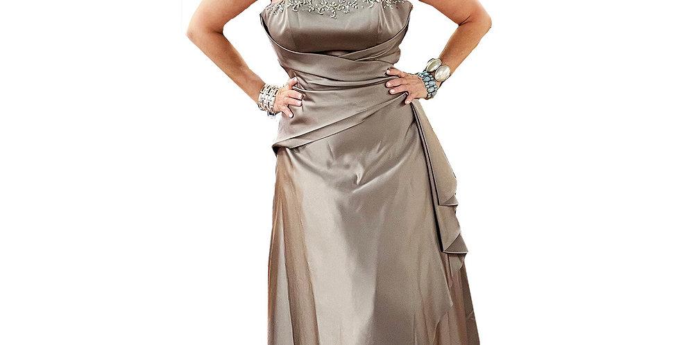 Taupe Satin Taffeta Strapless Gown