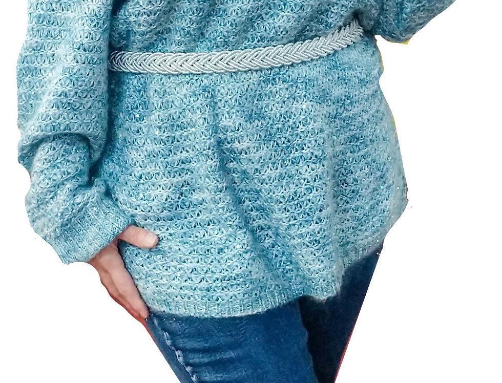 Aqua Off-The-Shoulder Lurex Knit Tunic