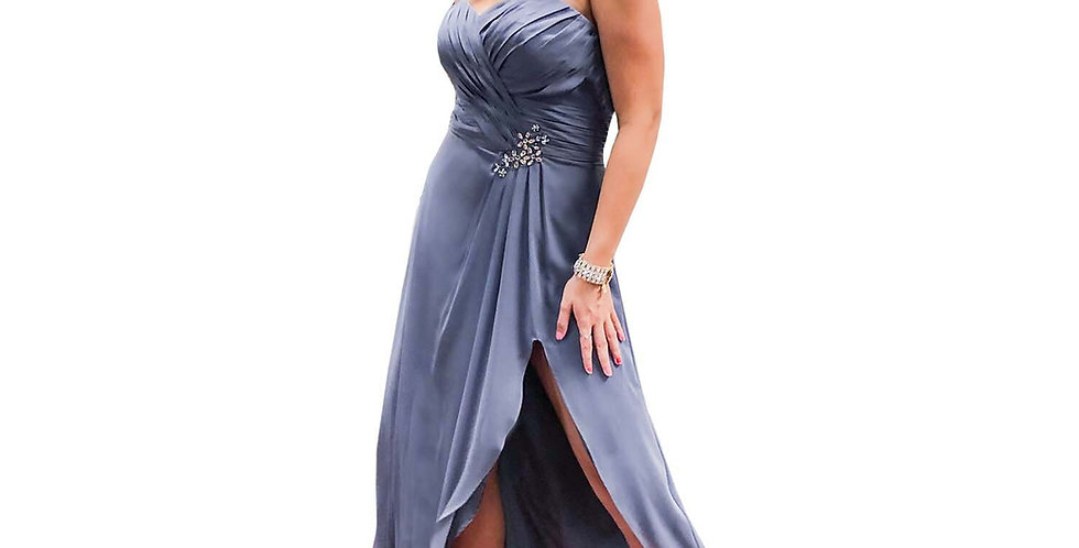 Ice Grey Crepe High Slit Gown