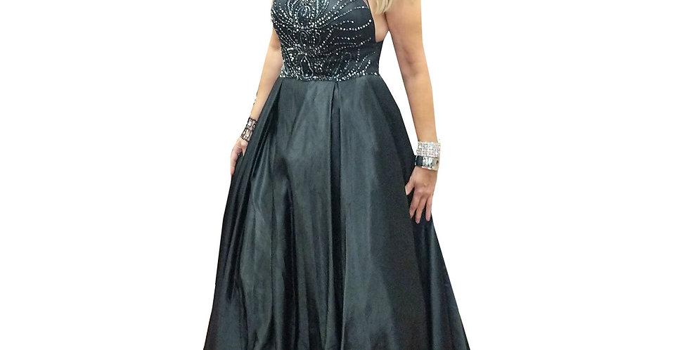 Black Jet Beaded Halter Bodice with Black Taffeta Ball Gown