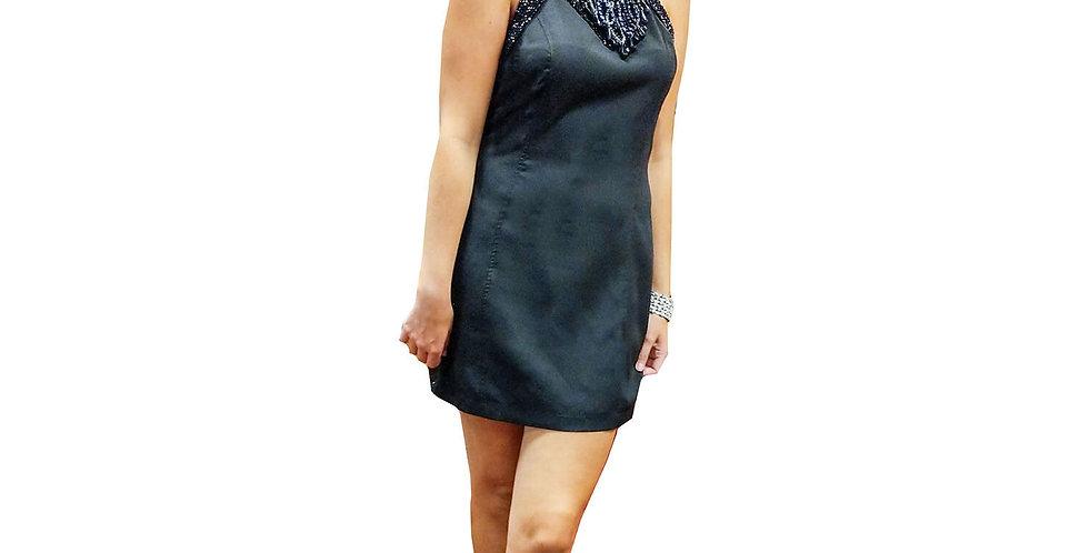 Beaded Halter Neck Mini Dress
