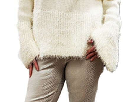Asymmetric One Cold Shoulder Soft Cozy Knit with Furry Knit Hem Bell Sleeves