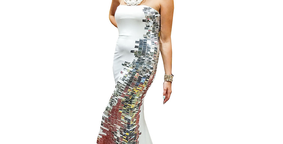 Silver Sequin Side Panel Matte Jersey Strapless Gown