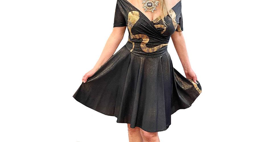 Parisian Black/ Bronze Stretch Python Fit & Flare Dress