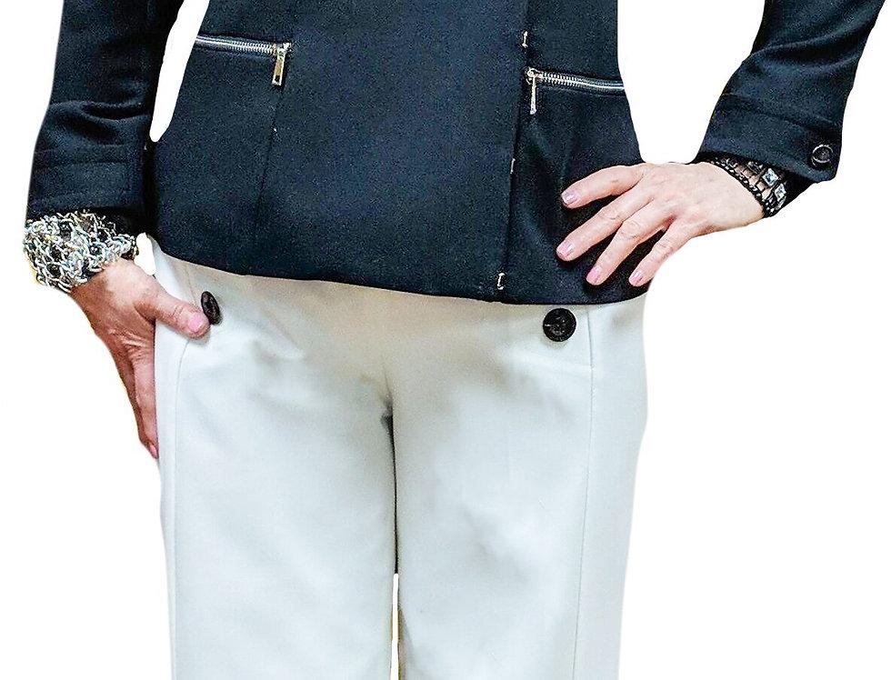 Parisian Gabardine Asymmetric Closure Fitted Blazer