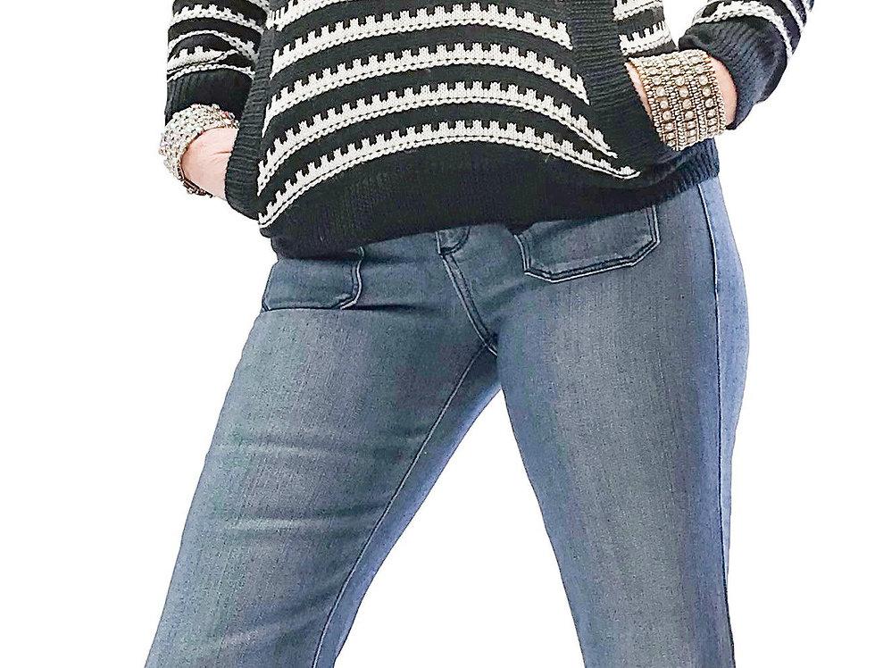 Stripped Stretch Cowl Knit Sweater