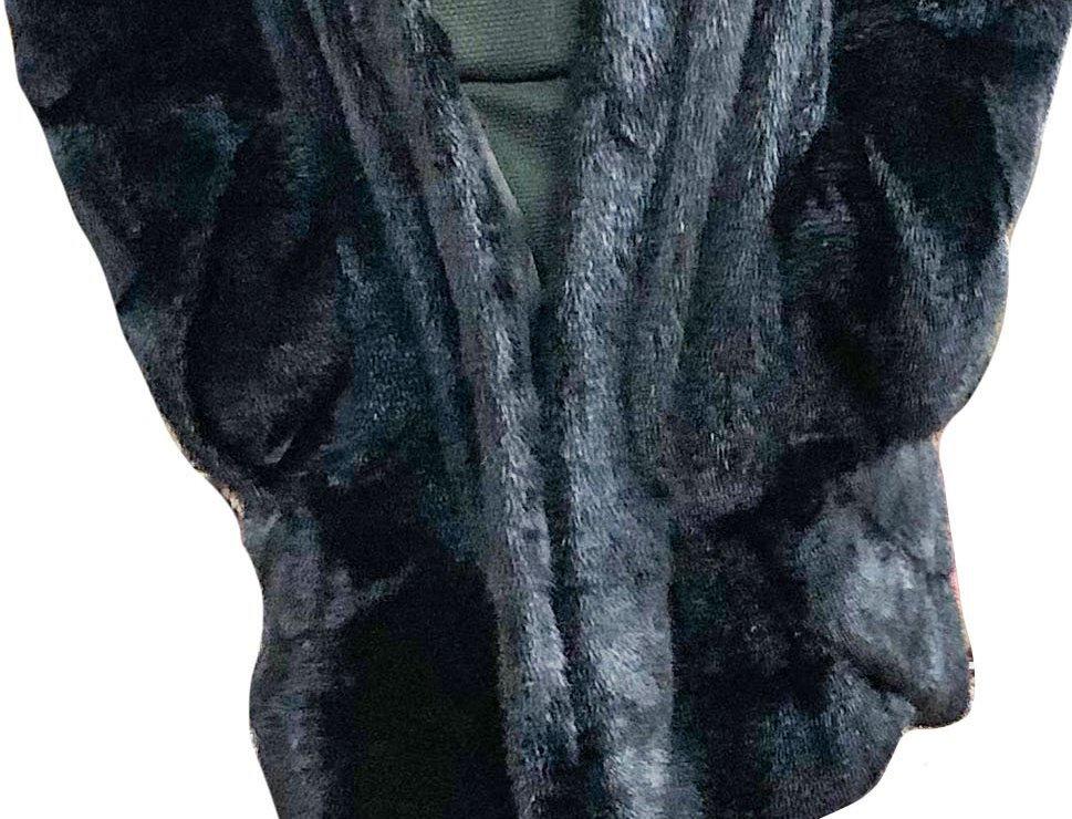 Black Faux Beaver Cuddle Coat