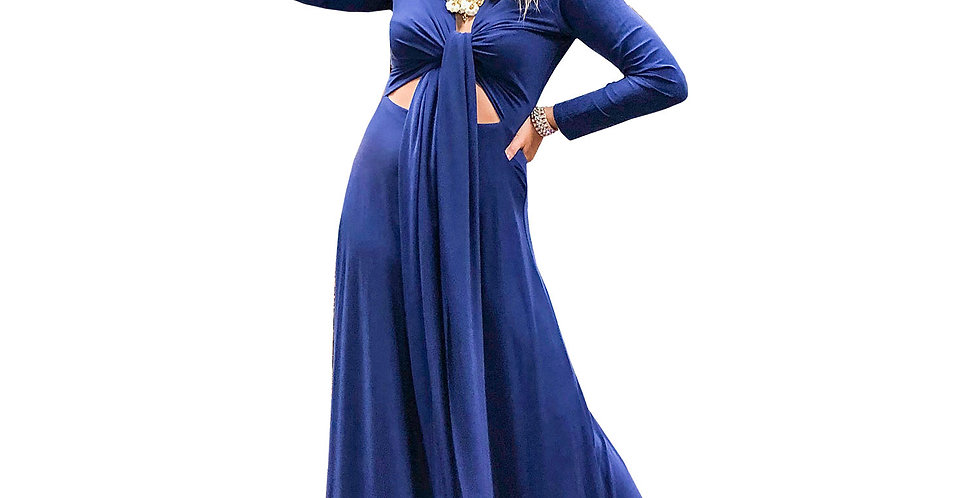 Stretch Matte Jersey Long Sleeve Wrap Top Gown