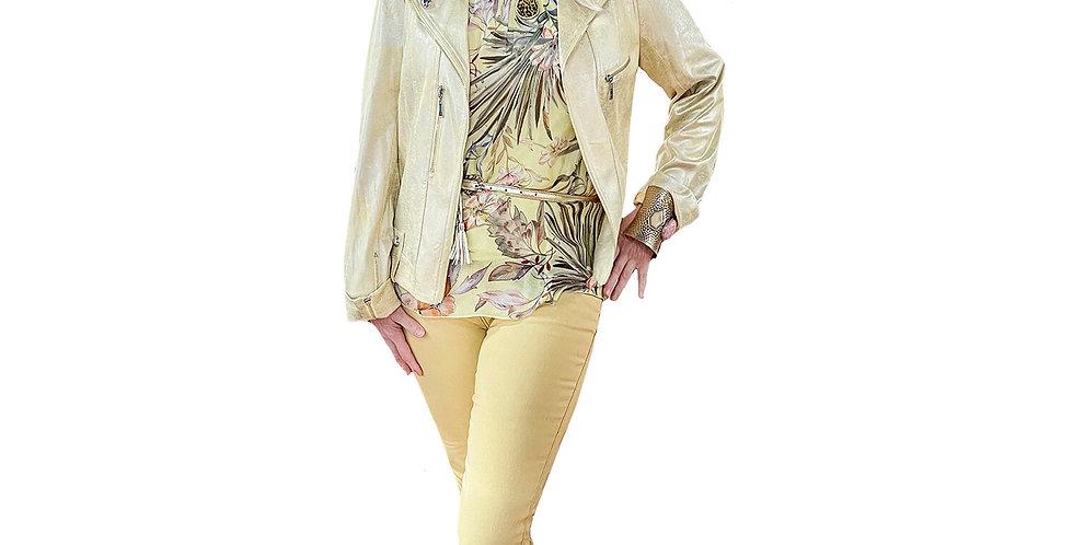 Lemon Meringue Metallic Stretch Moto Jacket