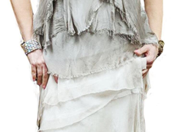 Italian Silk Stretch Shredded Tiered Maxi Skirt