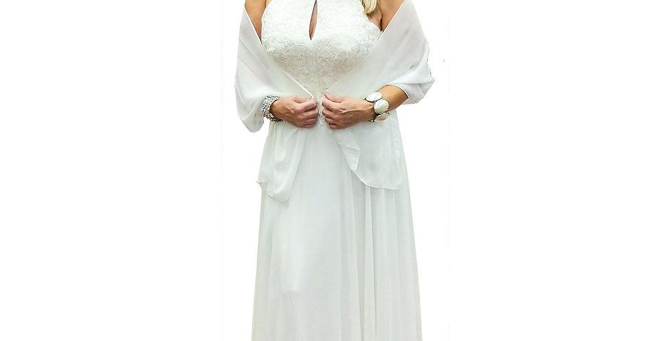 Lace Appliquج© Keyhole Halter Neck Chiffon A-Line Gown
