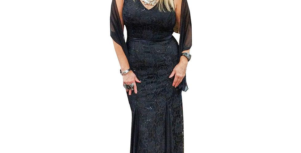 Black Beaded V-Neck Belted Gown