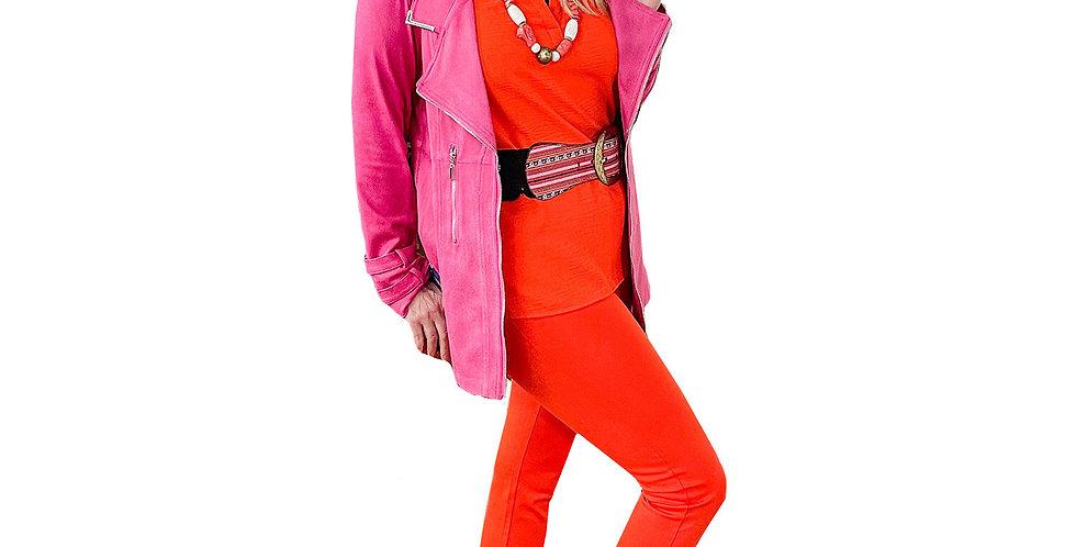 Sorbet Pink Textured Vegan Leather Crombie