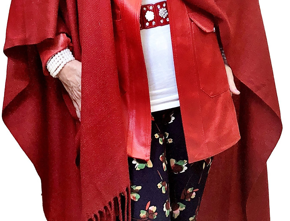 Fringe Cashmere Touch Sweater Wrap Shawl