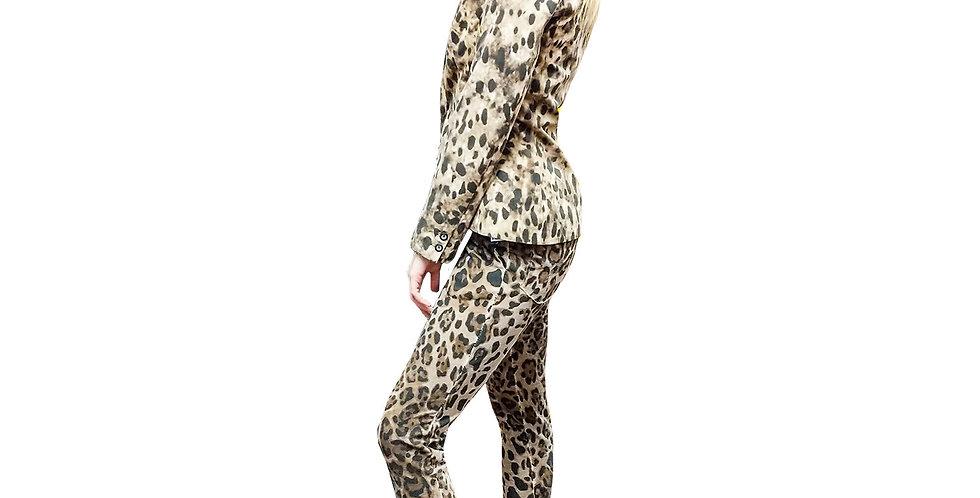 Fitted Stretch Leopard Blazer