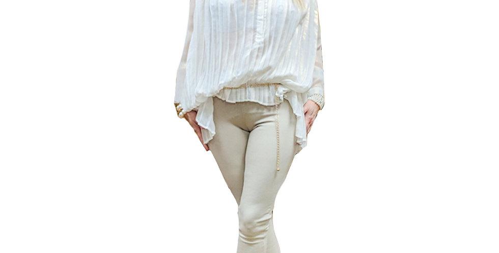 Pleated Chiffon White Metalicized Tunic Blouse