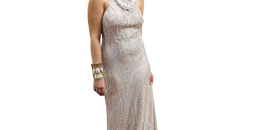 Pearlized Pink Encrusted Gem Halter Gown