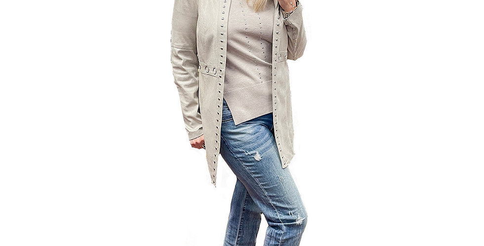 Oyster Blush Silver Stud Collarless Vegan Leather Crombie